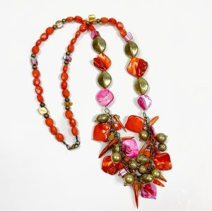 Cato Beaded Shell Brass Beaded Statement Necklace